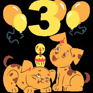Dritter Geburtstag Hunde Welpen mit Luftballons