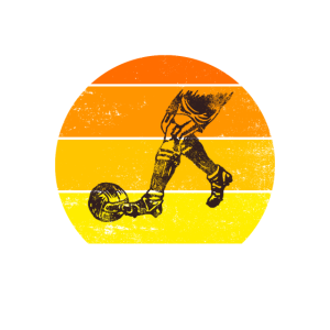 Vintage Sonnenuntergang Fussball Retro