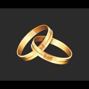 Goldene Ringe verlobt verheiratet Maske