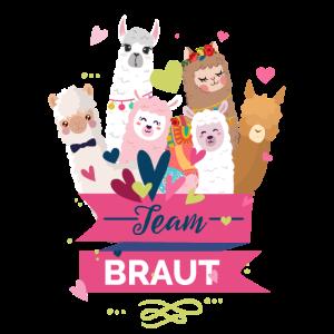 Team Braut Junggesellenabschied Hochzeit Alpaka