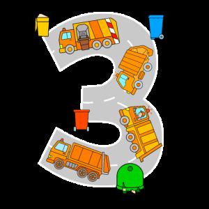 Müllabfuhr Müllautos Kinder 3 Jahre Geburtstag