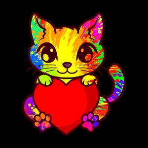 Süße Katze Kätzchen Liebhaber bunte Kunst Kitty
