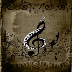 Musik, Zierschlüssel mit Klavier und Grundtönen