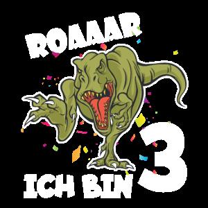 Dinosaurier Kinder 3.Geburtstag T-Shirt Geschenkid