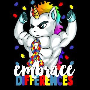 Umfassen Sie Unterschiede Autismus Bewusstsein Einhorn