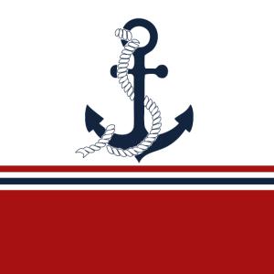Nautische blaue Anker mit roten, blauen Streifen