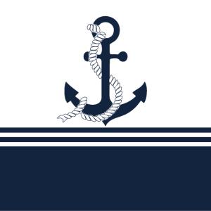 Nautische blaue Anker mit blauen weißen Streifen