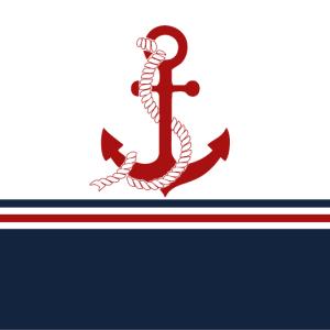 Nautische rote Anker mit blauen, roten Streifen