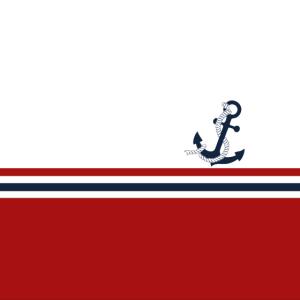 Nautische blaue Anker mit roten blauen Streifen