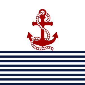 Nautische roten Anker und blaue weiße Streifen