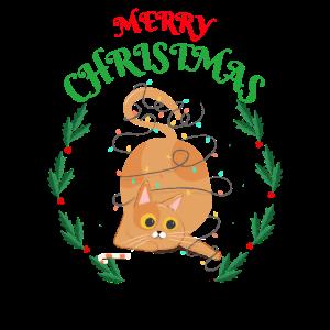 Lustige Weihnachts Katze Lichterkette