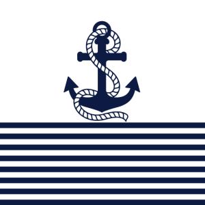 Marineblaue weiße Streifen und blauer Anker