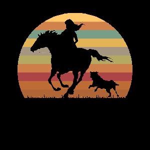 Hunde Pferde Liebe Retro Reiterin Geschenk Grafik