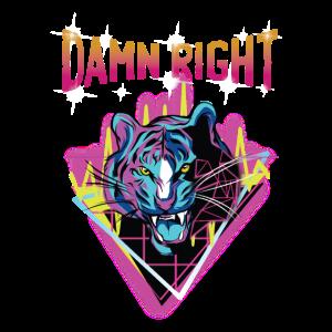 Retro Neon Tiger Damn Right