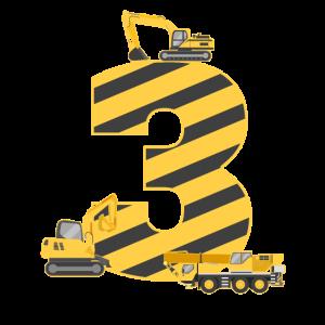 3. Geburtstag Bagger Baustelle Gelb Geschenk