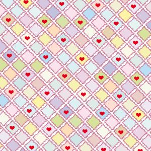 Retrofarben mit Herzen | rote Herzen | Rauten