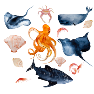 Salzwasser-liebe Unterwasser Meerestiere