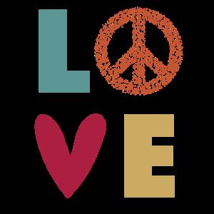 Love Peace - Liebe Frieden Herz- Retro Farben