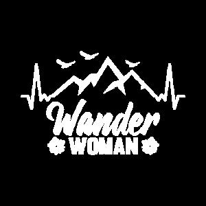 Wander Woman Trekking Herzschlag Berge Alpen Motiv