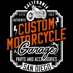 Custom Motorcycle Garage San Diego Biker Geschenk