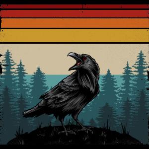 Retro Farben Rabe Krähe Vogel Crow Raven Bird