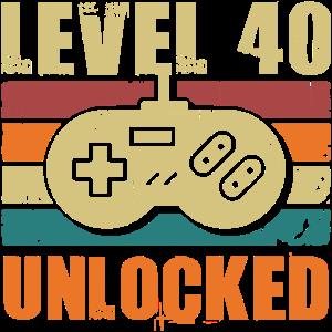 40 Geburtstag Level 40 Unlocked 40 Jahre Geschenk