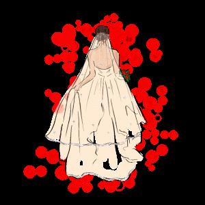 Braut in Brautkleid mit Schleier