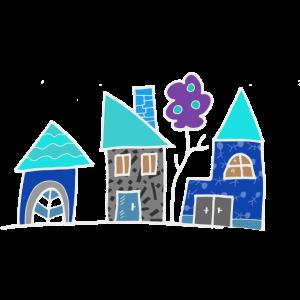 blaue Häuschen