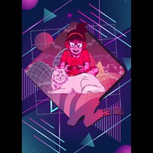 Retro Gamer girl zockt nur mit Katze