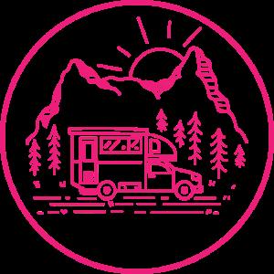Camping Logo Emblem Kreis Wohnmobil Camper