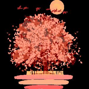 Herbstbaum mit Zugvögeln