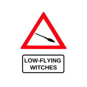 Warnschild Tiefflug Hexe