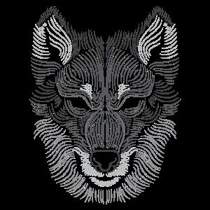 Wolf Kopf - Linien Kunst - Tier Zeichnung