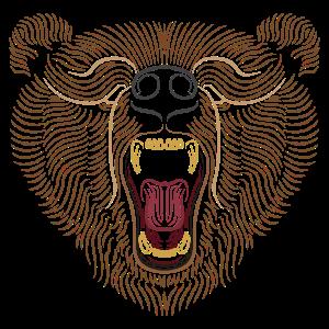 Bär Kopf - Linien Kunst - Tier Zeichnung