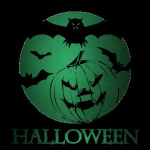 Kürbis mit Fledermäusen an Halloween