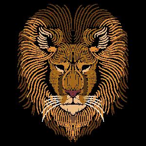 Löwe Kopf - Linien Kunst - Tier Zeichnung