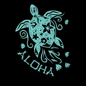 Schöne Mandala Schildkröte mit dem Spruch Aloha