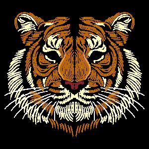 Tiger Kopf - Linien Kunst - Tier Zeichnung