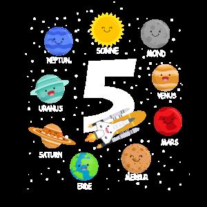 Kinder 5 Jahre alt Geburtstag Junge Weltall