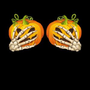 Funny Halloween Boobs For Women Skeleton Hands Pum