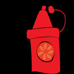 Ich lege Ketchup auf meinen Ketchup