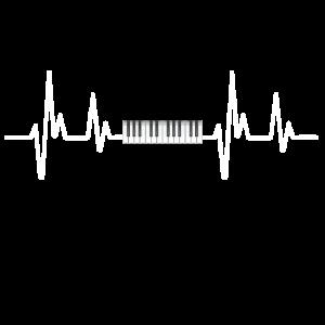 Klavier schlagen Herz T-Shirt. Geschenk