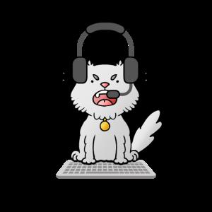 Zocker Katze mit Headset und Tastatur Fun