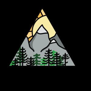 Berge und Sonnenuntergang Dreieck Urlaub wandern