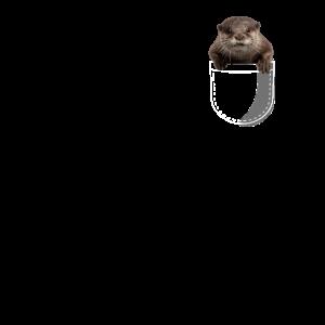 Cute Otter peeking pocket