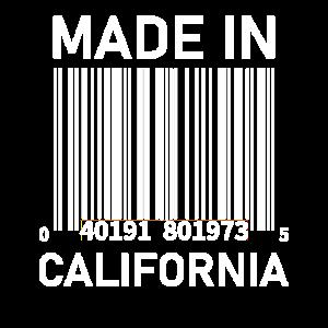 Hergestellt in Kalifornien - Barcode (weißer Text)