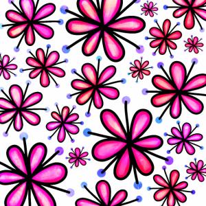 Hellrosa Gekritzelblumen Funky Retro Pattern