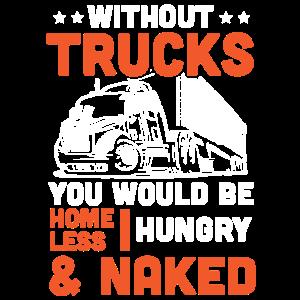 Lustiges Trucker Spruch - Hungrig Müde Nackt