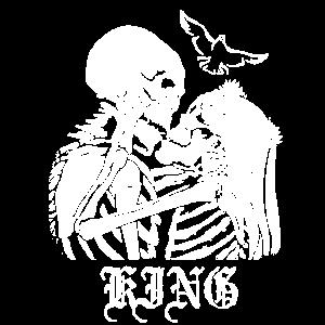 King Küssen Verliebte Skelette Schädel Geschenk