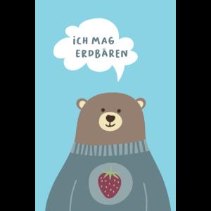 Poster Erdbär Erdbeeren Kinderzimmer Skandi Bär